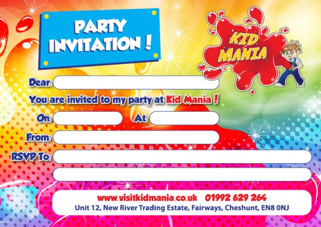 Kid Mania Party Invitation